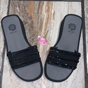 Black Platform Sparkly Flip Flops